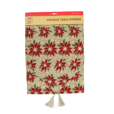 Table Runner Glitter Red Berries- 180 x 33 cm