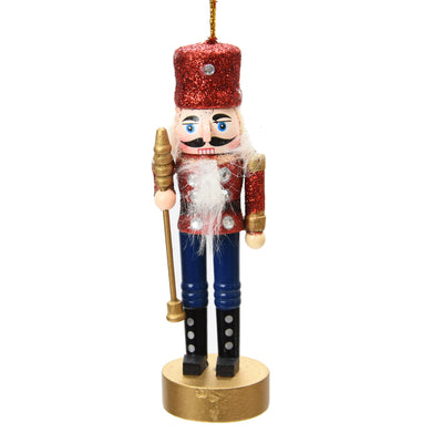 Christmas Decoration - Mini Nutcracker, Red Glitter, 13 CM