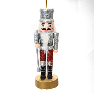 Christmas Decoration - Mini Nutcracker, Silver Glitter, 13 CM
