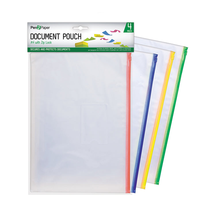 Document Zip Pouch Set 4pcs- Clear, A4 size