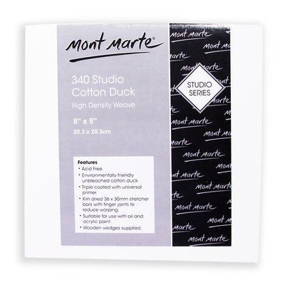 Mont Marte Canvas Panel - 340 Studio Cotton Duck, 20.3X20.3 cm, 1pc