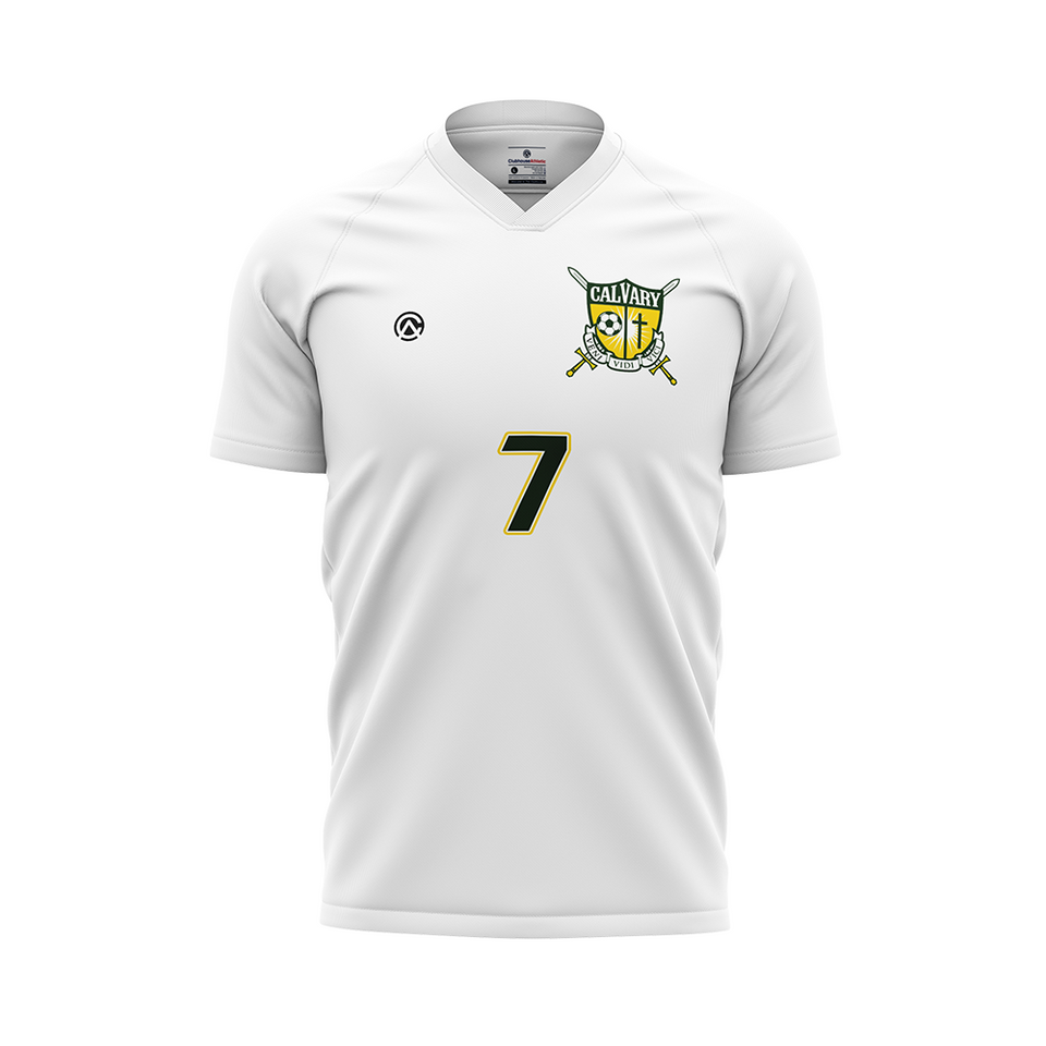 Calvary Academy Boys Soccer Jersey (White) - Premium Athletic Apparel Clubhouse Athletic