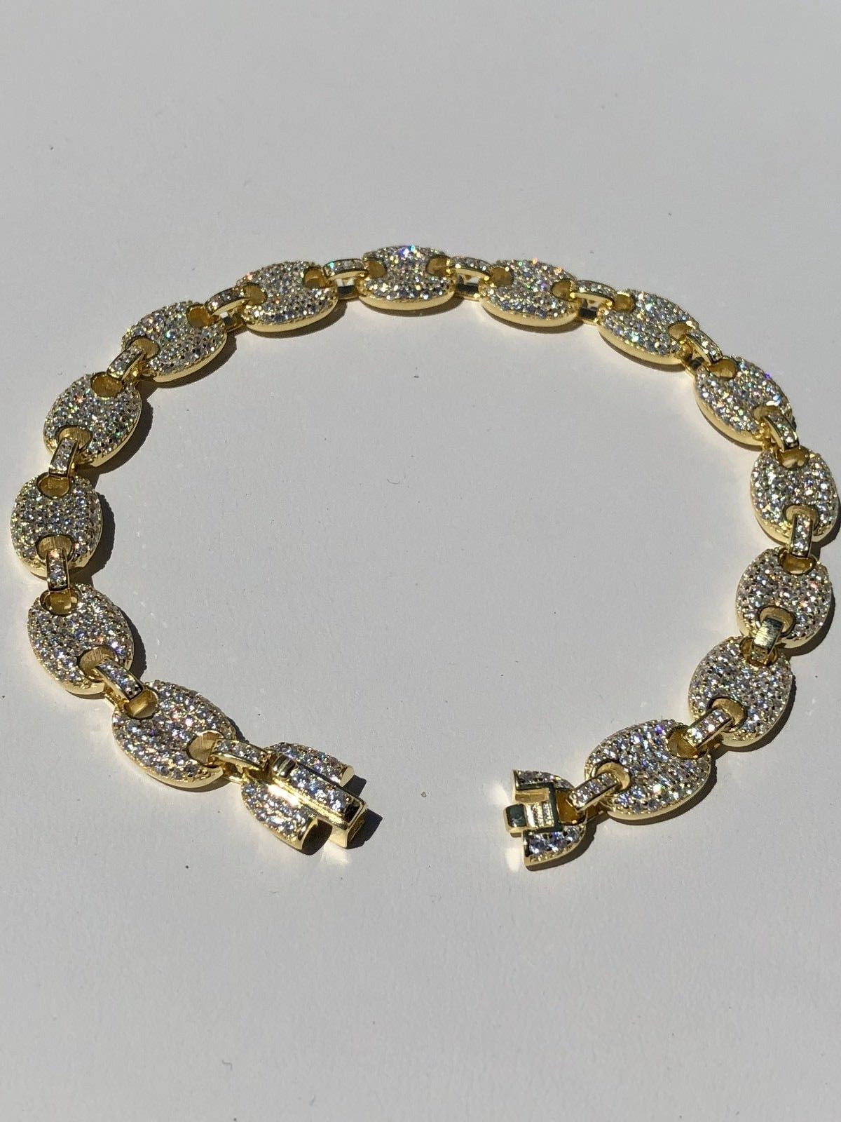 807b4dc9150fd 8mm Gucci Link Bracelet 14k Gold Over Solid 925 Sterling Silver Diamond ICY