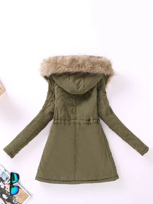 Faux Vegan Lined Parka Coat