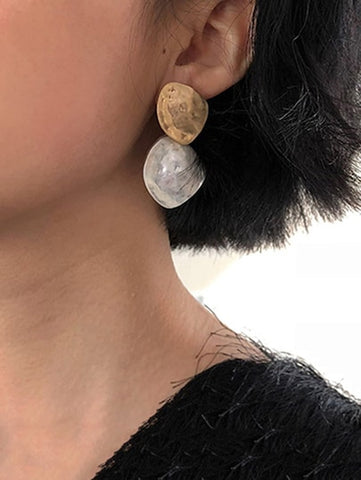 Two Tone Textured Metal Drop Earrings