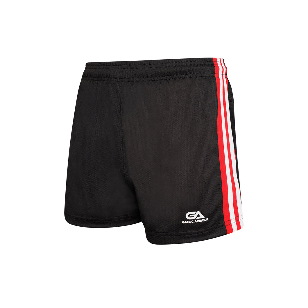 GAA Official Match Shorts Black Red