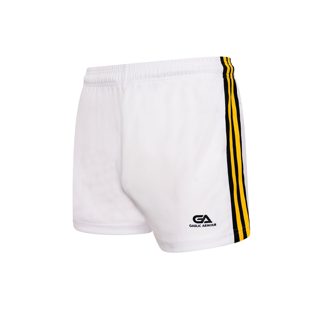 GAA Official Match Shorts White Black Amber