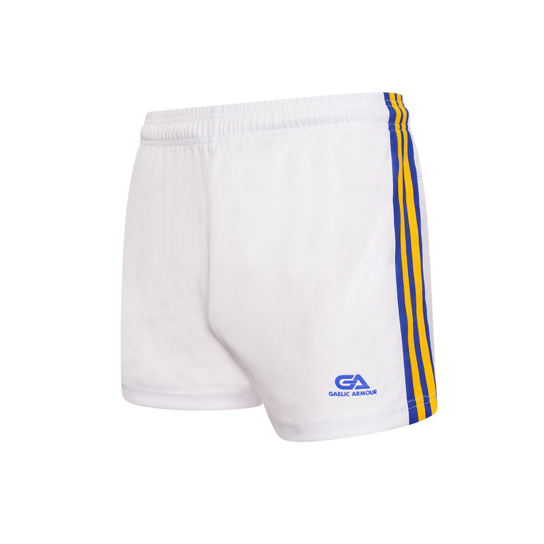 GAA Official Match Shorts White Royal Amber