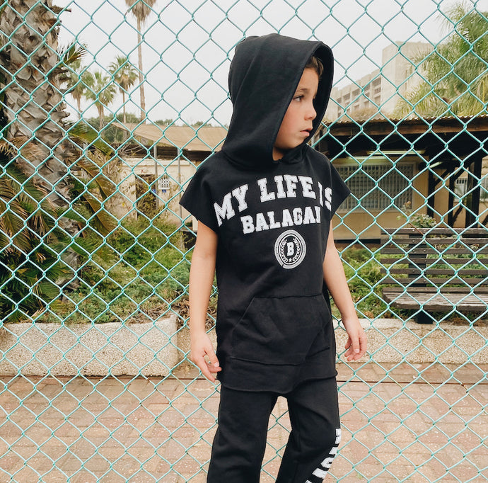 Sweatshirt sleeveless Life is BALAGAN Black