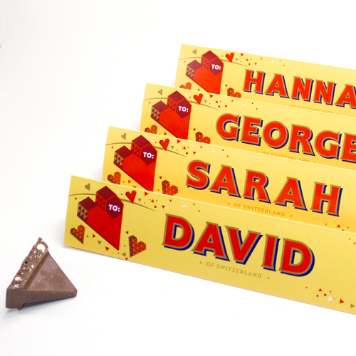 360g Toblerone with Personalised Valentines Sleeve with Free Shipping