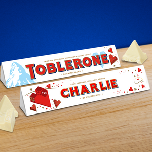 360g White Toblerone with Personalised Heart Sleeve