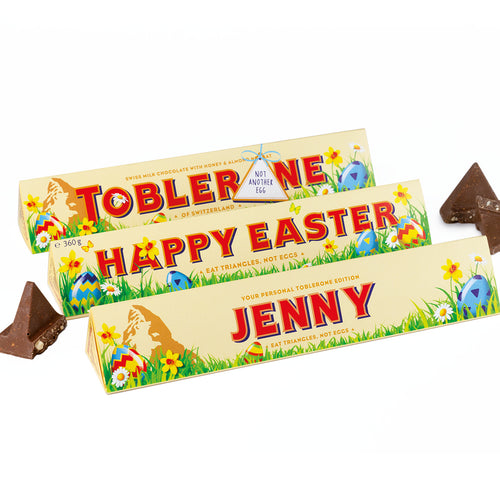 360g Toblerone with Easter Themed Personalised Sleeve with Free Shipping