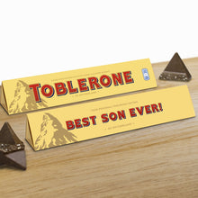 Load image into Gallery viewer, 360g Milk Chocolate Toblerone with 'Best Son Ever' Sleeve