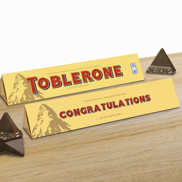 360g Milk Chocolate Toblerone with 'Congratulations' Sleeve