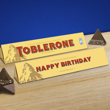 Load image into Gallery viewer, 360g Milk Chocolate Toblerone with 'Happy Birthday' Sleeve