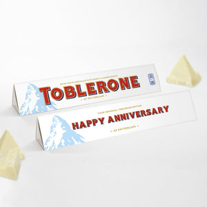360g White Chocolate Toblerone with 'Happy Anniversary' Sleeve