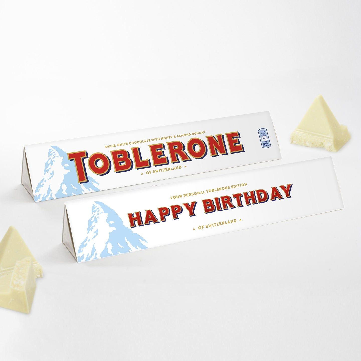 360g White Chocolate Toblerone with 'Happy Birthday' Sleeve