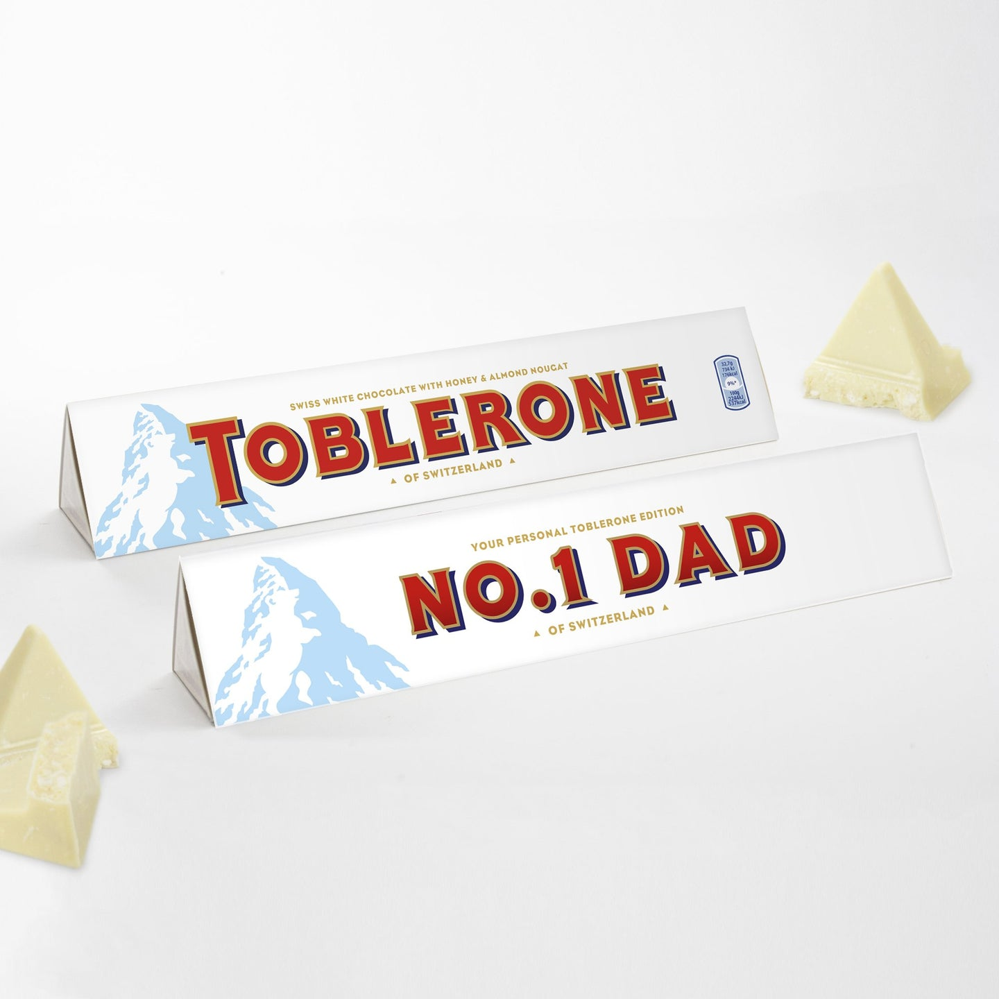 360g White Chocolate Toblerone with 'No.1 Dad' Sleeve