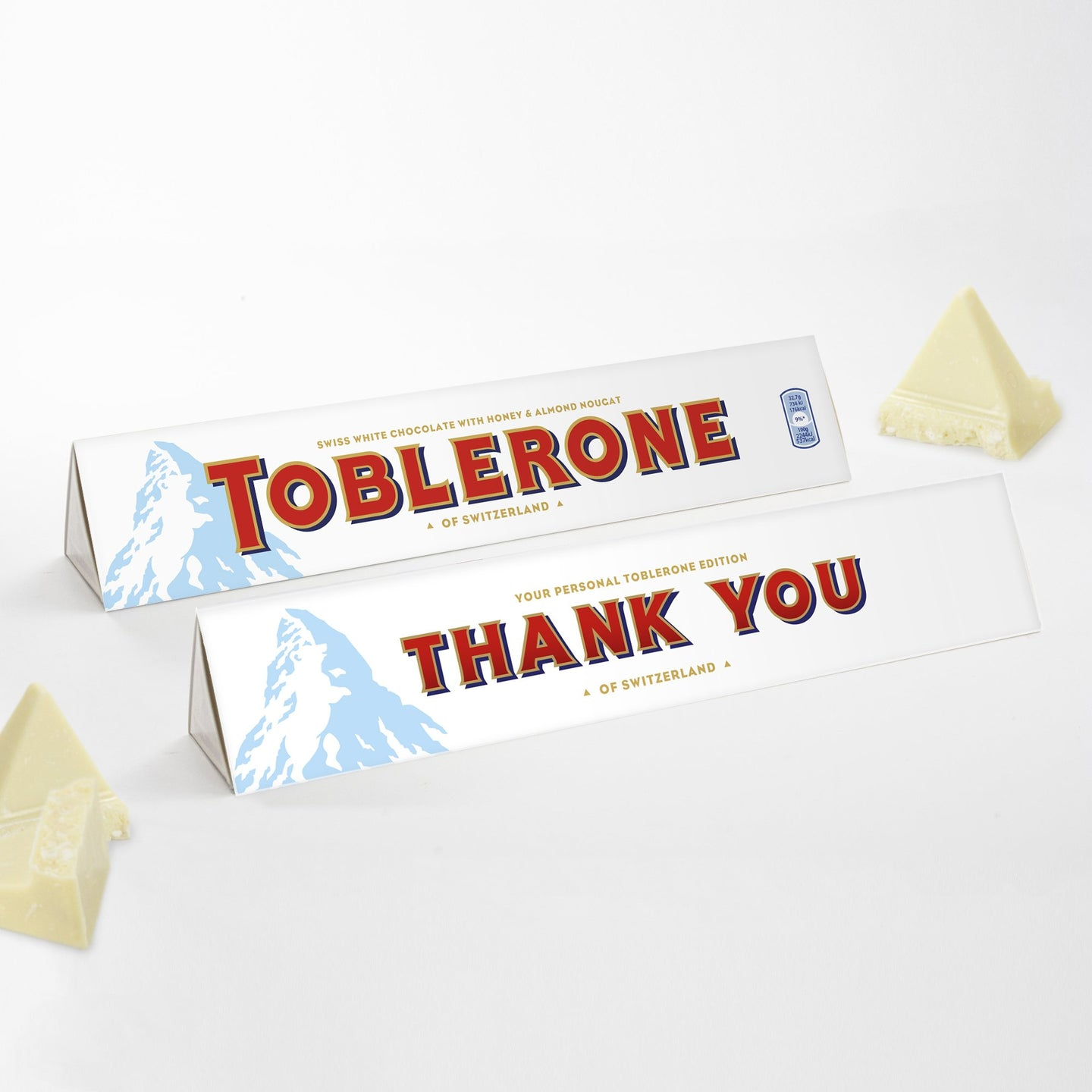 360g White Chocolate Toblerone with 'Thank You' Sleeve