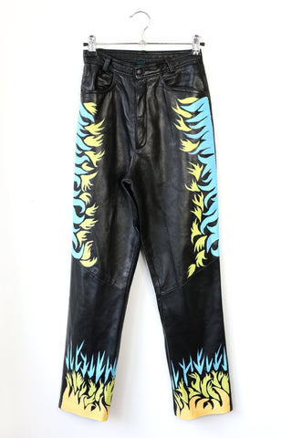flames hand-painted leather trousers