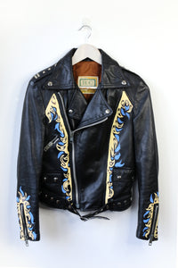 flames leather biker jacket