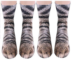 Animal Paws Socks-Novelty Animal Socks Crazy 3D Cat Dog Tiger Paw Crew Socks