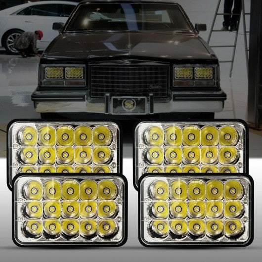 "4"" x 6"" 4 pcs Rectangle High Low Sealed LED Headlight"