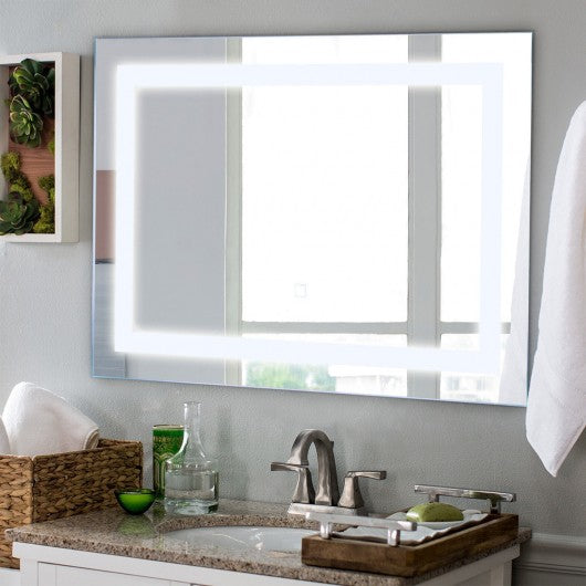 "27.5"" LED Wall-Mounted Rect Bathroom Mirror w- Touch"