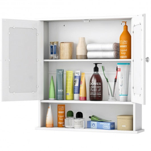 Bathroom Wall Mount Mirror Cabinet Organizer-White