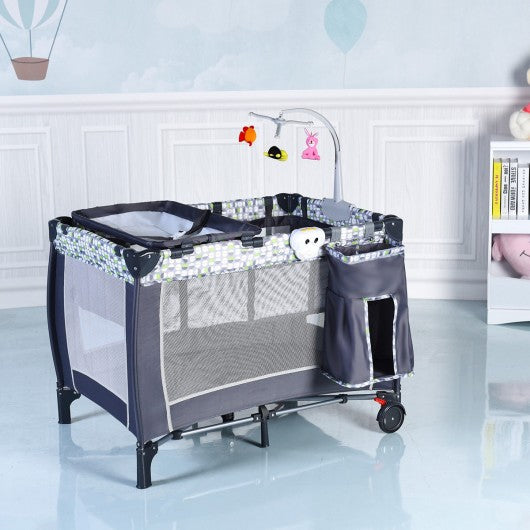 Foldable Travel Baby Crib Playpen Infant Bassinet Bed w- Carry Bag-Gray