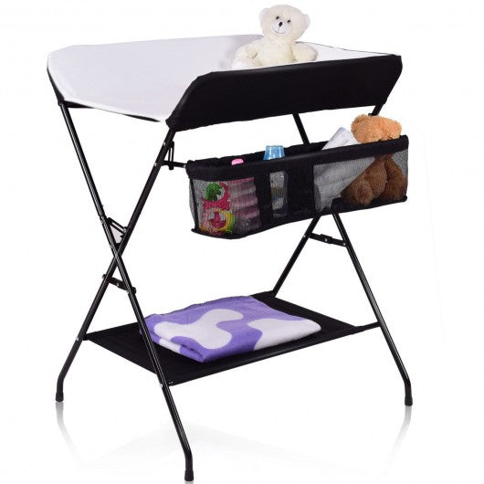 Baby Storage Folding Diaper Changing Table-Black