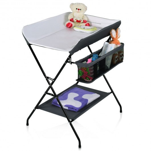 Baby Storage Folding Diaper Changing Table-Gray