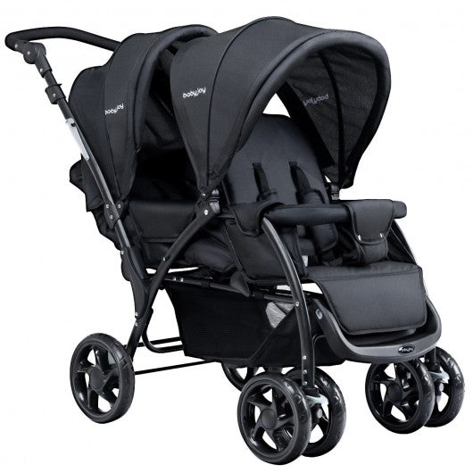 Foldable Lightweight Front Back Seats Double Baby Stroller-Black