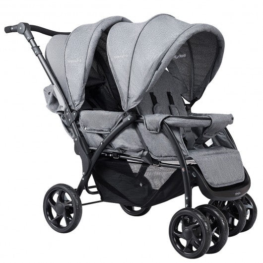 Foldable Lightweight Front Back Seats Double Baby Stroller-Gray