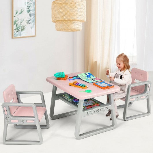 Kids Table and 2 Chairs Set with Storage Shelf-Pink