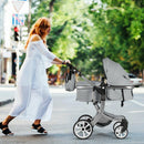 Folding Aluminum Infant Reversible Stroller with Diaper Bag-Gray