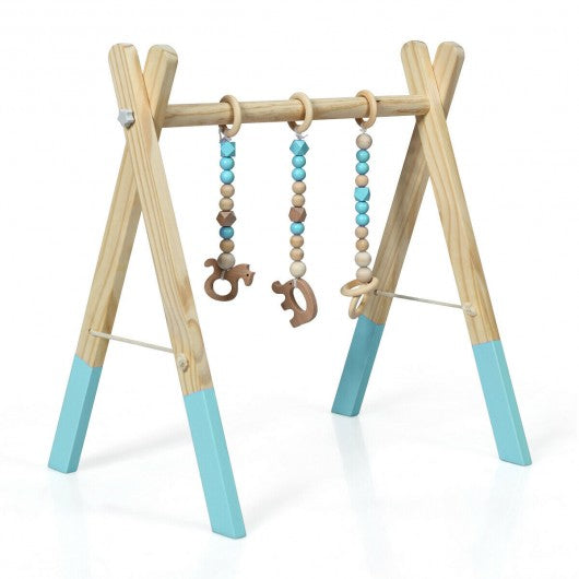 3 Wooden Baby Teething Toys Hanging Bar-Blue