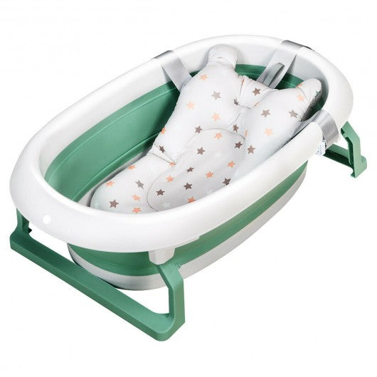 Folding Portable Baby Bathtub w- Cushion Blue-Green