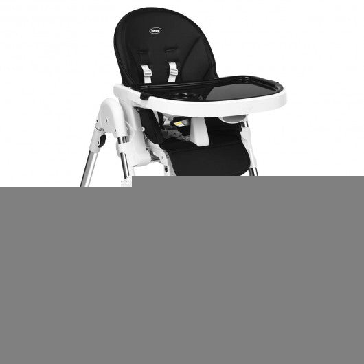 Foldable High Chair with Large Storage Basket -Black