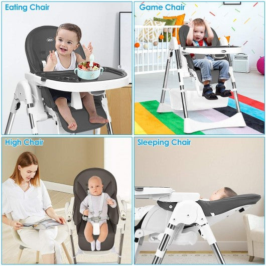 Foldable High Chair with Large Storage Basket -Gray