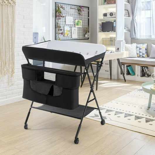 Portable Adjustable Height Newborn Nursery Organizer  with wheel-Black