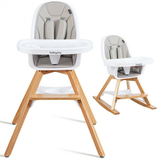 3-in-1 Convertible Wooden Baby High Chair-Gray