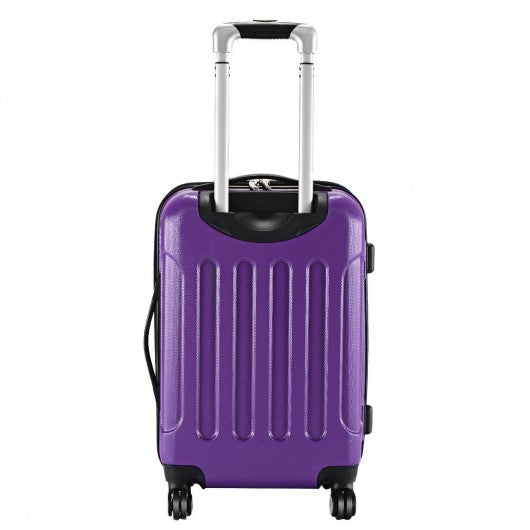 "GLOBALWAY Expandable 20"" ABS Carry On Luggage Travel Bag Trolley Suitcase-Purple"