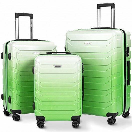 3PCS Spinner Expandable Suitcase With TSA Lock-Green