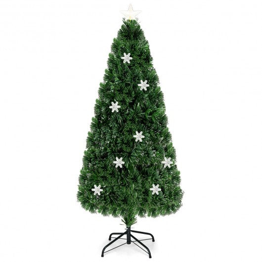 LED Optic Artificial Christmas Tree with Snowflakes-6'