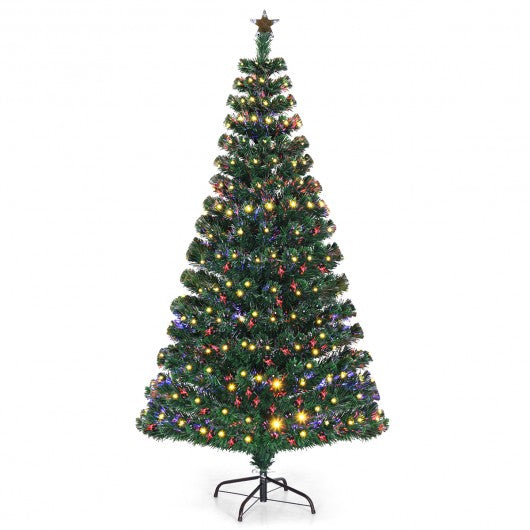 5'-6'7' LED Fiber Optic Artificial Christmas Tree w- Top Star-6'