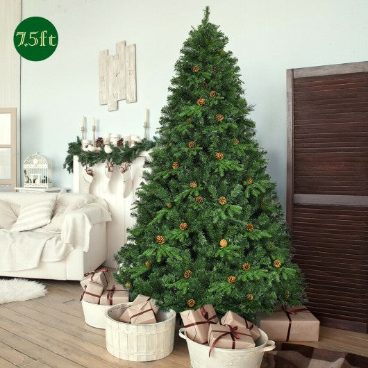 7.5 Ft Artificial Christmas Tree with LED Lights & Pine Cones