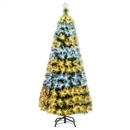 7Ft Double-color Lights Fiber Optic Christmas Tree