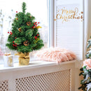 2Ft Tabletop Pine Artificial Christmas Tree in Burlap Base