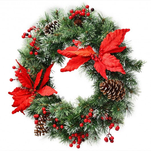 "24"" Pre-lit Artificial Christmas Wreath Battery Operated"